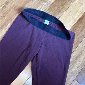 maroon garage leggings with foldable waistband